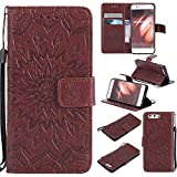 Huawei P10 Case Emboss Sun Flower PU Leather Wallet ID & Credit Card Slots Magnetic Folio Cover (Huawei P10, Brown)
