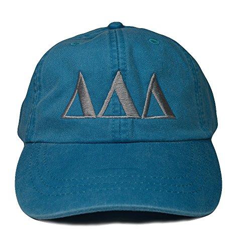 Delta Delta Delta (L) Tri Delta Bright Blue with Gray Thread Sorority Baseball Hat Cap Greek Letter Sports Cap Adjustable Strap (Chicago Lauren Ralph Store)
