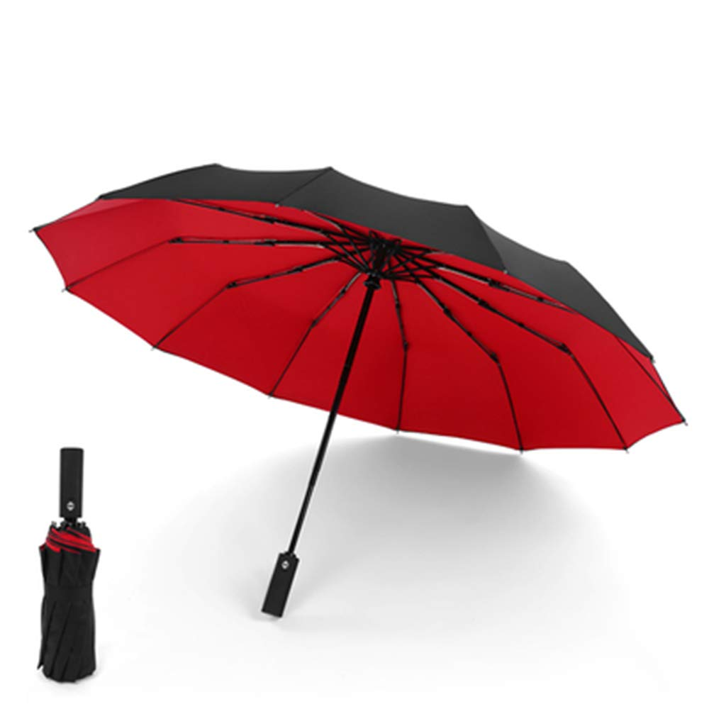 HEIFEN Sun Umbrellas Parasols Double Umbrellas 12 Ribs One Button On/Off Three Folds Umbrella Large Men's and Women's Personality Creative Reinforcement 41.3inch/105cm