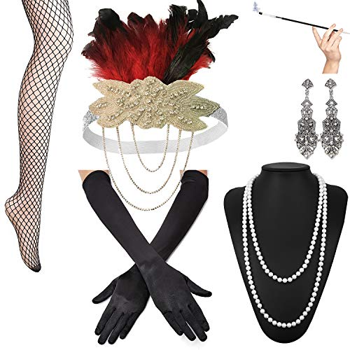 (1920s Accessories Set for Women Feather Headband Earrings Necklace Gloves Cigarette Holder Gatsby Flapper Costume Set (OneSize,)