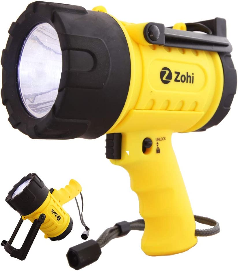 Zohi 1500 Lumen Super Bright LED Waterproof Submersible Rechargeable Flashlight/Spotlight/Searchlight | Portable Phone Charger | Detachable Red Light Filter | Yellow | Home Car Charger with Cables - -