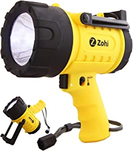 Zohi 1500 Lumen Super Bright LED Waterproof Submersible Rechargeable Flashlight/Spotlight   18 W   Detachable Red Light Filter   Yellow   Home and Car Charger with Cables