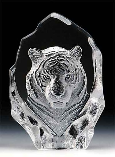 Award Crystal Lead 24% - VG Engraved Lead Crystal - Tiger Head