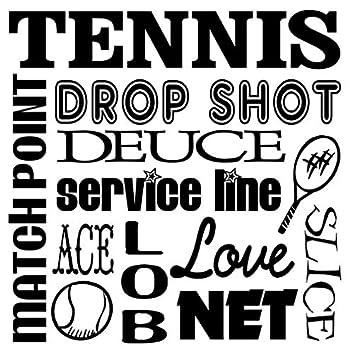 JS Artworks Tennis Drop Shot Deuce Service Line Match Point Ace Lob Love Net Slice Vinyl Wall Decal Sticker