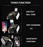 Wireless Bluetooth FM Transmitter for Car,Hands-Free Call/Music Adapter,Dual USB Ports Support Fast Charger and Flash Drive Compatible for iPhone,Samsung,Most Bluetooth Electronics
