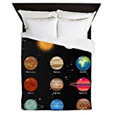 Queen Duvet Cover Solar System Sun Moon and Planets