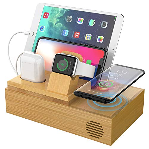 CHGeek Bamboo Wireless Charger-Charging-Station-for-Multiple-Devices, Charging Dock for Apple Watch, AirPods. -Wireless-Charging-Pad Organizer for iPhone, Tablets. Compatible iPhone X/XS/XR/Xs Max/8