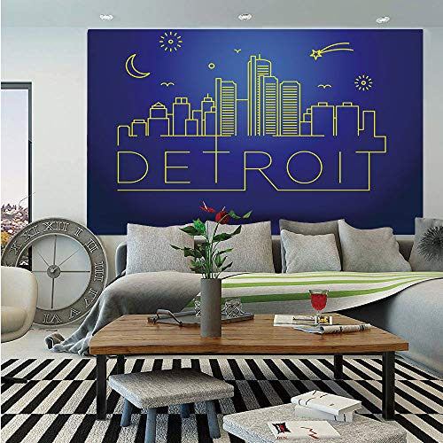 - SoSung Detroit Decor Huge Photo Wall Mural,Minimalistic Graphic Cityscape of Detroit Architecture and Sky Elements,Self-Adhesive Large Wallpaper for Home Decor 100x144 inches,Blue and Yellow