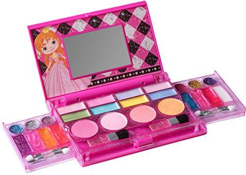Playkidz: My First Princess Makeup Chest, Girl's All-In-One Deluxe Cosmetic and Real Makeup Palette with Mirror (Washable) -
