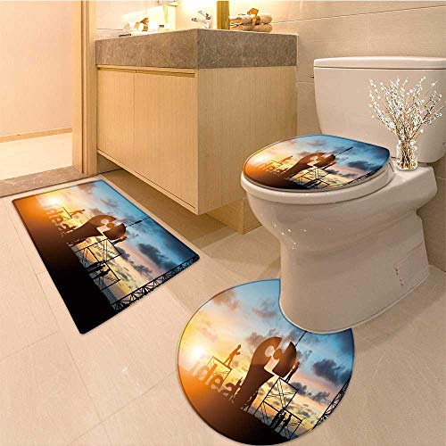 MikiDa U-Shaped Toilet Mat silhouette team business engineer work connecting jigsaw puzzle piece together team Washable ()