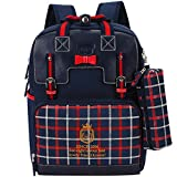 Uniuooi Primary School Students Ergonomic Backpack Book Bag - Waterproof Nylon Schoolbag for Boys Girls Gift 6-12 Years Old (Navy)