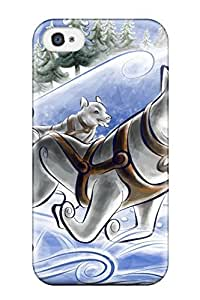 Defender Case For Iphone 4/4s, Dogs Caravan Vector Design Holliday Fun Sledge Kids Jackets Dresses Shoes Vacations Season Coats Fal Nature Winter Pattern