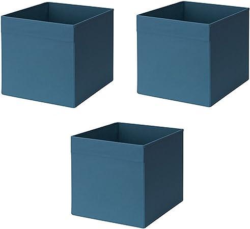 Ikea Drona Box - Caja de cartón (3 unidades), color azul oscuro: Amazon.es: Hogar