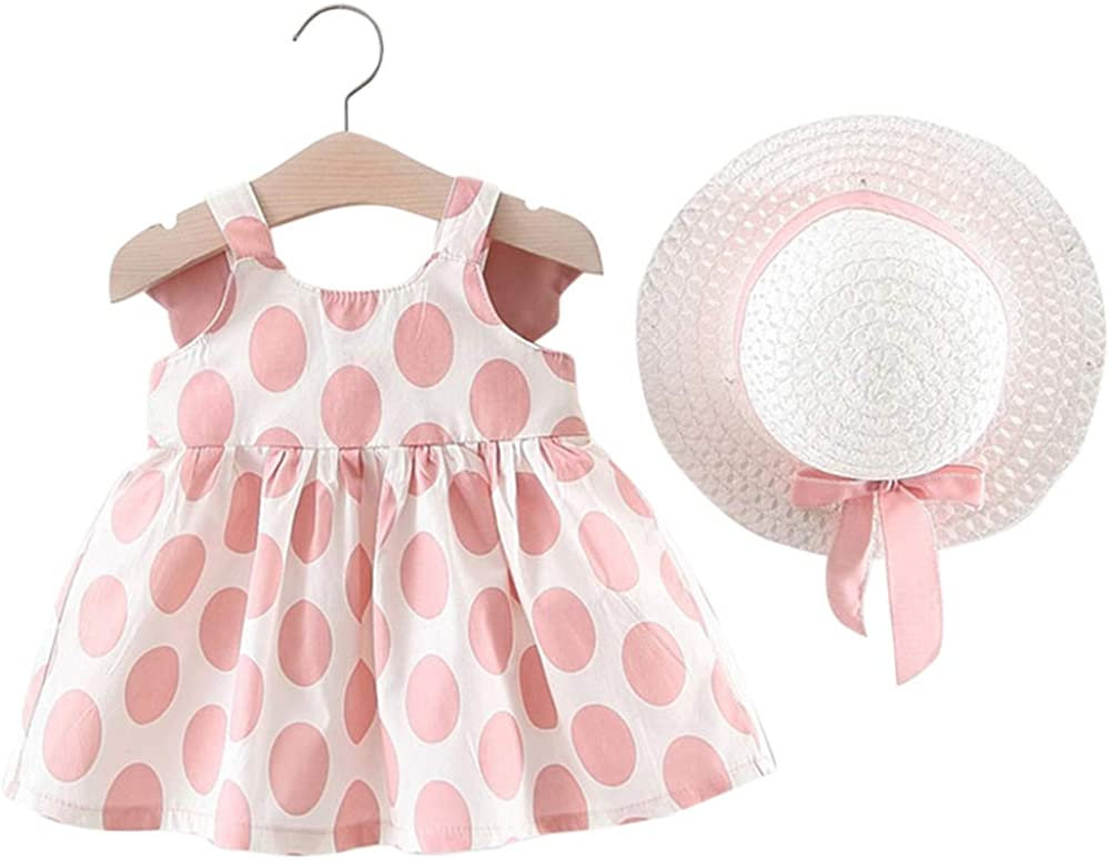 IFFEI 3Pcs Baby Girls Outfits Short Sleeve Romper Floral Polka Dot Skirt with Headband Girl Clothes Set