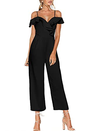 0da57342bce Luyeess Women s Straps Off Shoulder Ruffled Sweetheart Jumpsuit Wide Leg  Pants Long Romper S(US