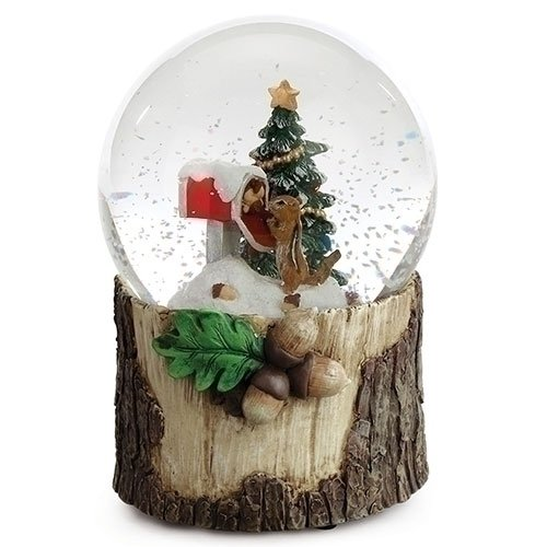 Roman Chipmunk at Mailbox with Christmas Tree Musical Snow Globe 5.75