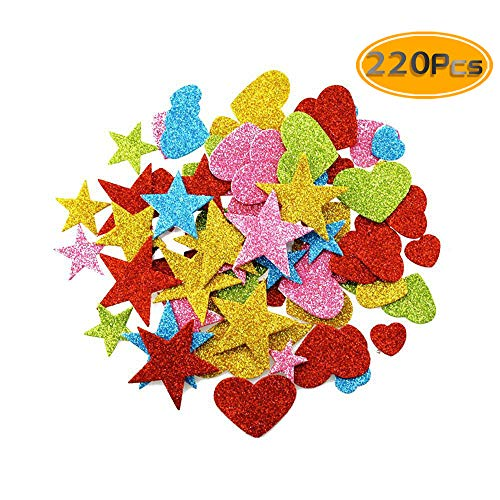 DLOnline 220 Pieces Foam Glitter Stickers, Star and Mini Heart Shapes for Kid's Arts Craft Supplies Greeting Cards Home Decoration DIY Craft Ornament ()
