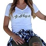 Women Short Sleeve Letter Printed V Neck Tops T Shirt Find me Where The Wild (L, White)