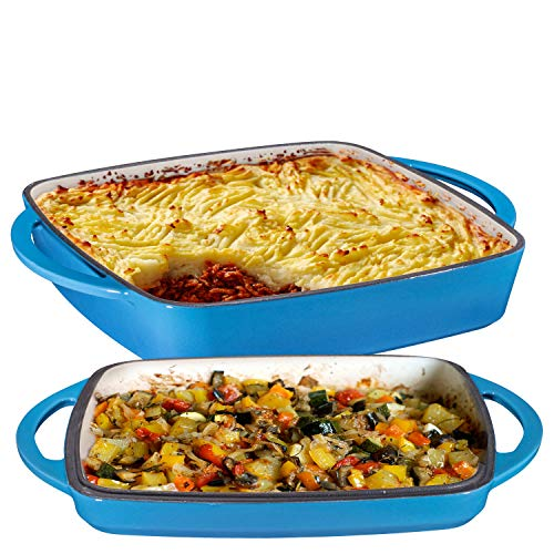2 in 1 Enameled Cast Iron Square Casserole Baking Pan With Griddle Lid 2 in 1 Multi Baker Dish 11