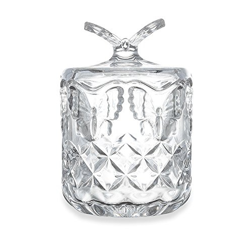 Mkono Glass Candy Dish with Lid, Butterfly (7 Inch Candy Dish)