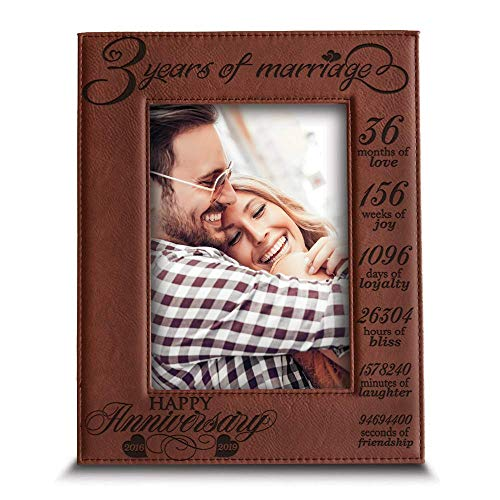 BELLA BUSTA- 3 Years of Marriage-2016-2019- Years,Months, Weeks, Days, Hours, Weeks, Minutes, Seconds- Engraved Leather Picture Frame (5 x 7 Vertical (Rawhide))