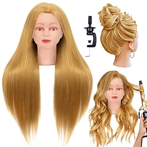 Cabeza p/practica peluqueria 66-71cm  rubia pelo sint,+ base