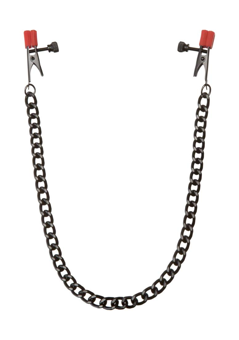 KINK By Doc Johnson Nipple Clips with Heavy Chain and Silicone Tips, Black/Red by Doc Johnson