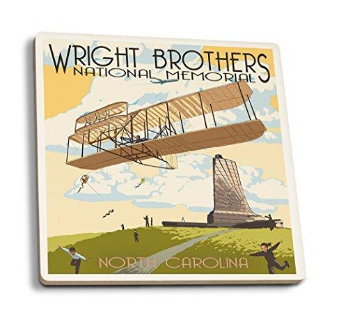 Lantern Press Outer Banks, North Carolina - Wright Brothers National Memorial (Set of 4 Ceramic Coasters - Cork-Backed, Absorbent)
