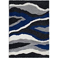 Masada Rugs Multi color Modern Contemporary Collection Soft Shag Area Rug (5 Feet X 7 Feet, Waves Anthracite)