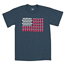US Flag Red Cups, Balls Beer Pong - ADULT SHORT SLEEVE TEE