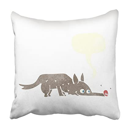Emvency Throw Pillow Cover Retro Cartoon Dog Sniffing Floor with