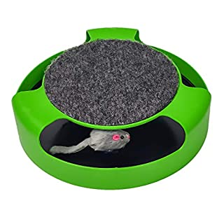 Pasking Interactive Cat Toy, Catch The Mouse Cat Toy with a Running Mouse and a Scratching Pad, Cat Scratcher Catnip Toy, Quality Kitten Toys, Green