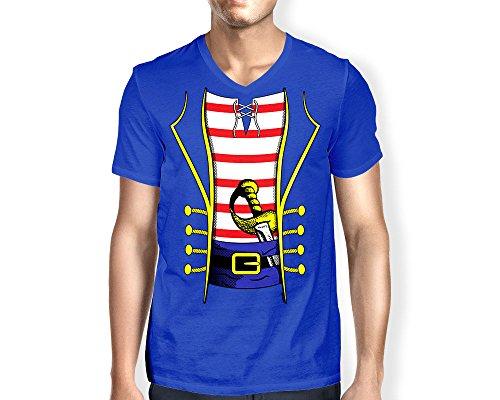 Jason V Costume (Mens Pirate Costume V-neck T-shirt (XL, ROYAL BLUE))