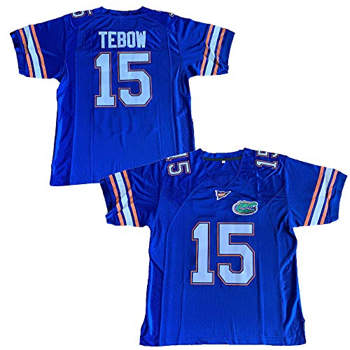 15 Tim Tebow College Style Football Jersey Size S-3XL Blue (Blue, X-Large)