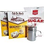 Cafe Du Monde Beignet Mix (2 boxes), Powdered Sugar, Shaker - 4 items