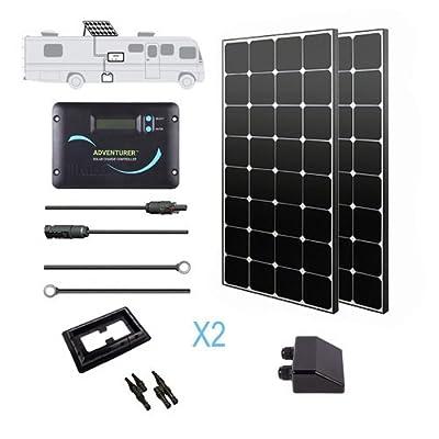 Renogy 12 Volt Monocrystalline Eclipse Solar RV Kit with 30A Adventurer Negative-Ground Charge Controller & Corner Bracket Mount