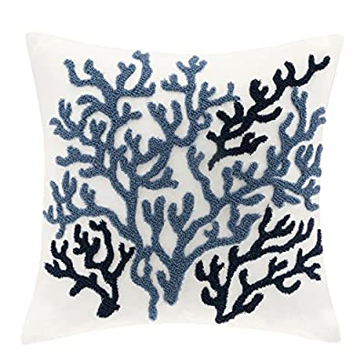 Beach House Cotton Throw Pillow,Coastal Pattern Fashion Square Decorative Pillow, 18X18, Blue - Seaside-themed square decorative pillow, measures 18 by 18 inches White base adorned with embroidered coral in light and dark blue Made from 100 percent cotton - living-room-soft-furnishings, living-room, decorative-pillows - 51ngt0C1GiL. SS400  -