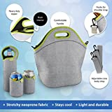 Tabkoe™ Large Neoprene Lunch Bag Set: Extra Big & Thick Insulated Tote + Shoulder Strap + Bottle Cooler + 2 Can Coolers – Washable – Reusable | Great For LunchBoxes To Work or School