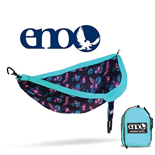 ENO Eagles Nest Outfitters - DoubleNest Print Portable Hammock for Two, Blue - Nest Eagle Hammock Double