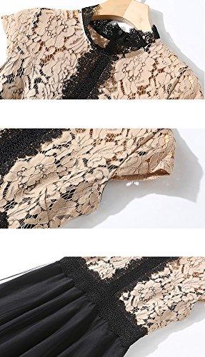 Kurzarm Linie YL07518 E Midi A Kleider Hohl Cocktailkleid Partykleid Reine Khaki Spitze girl Damen Kleid wzqXX5AU