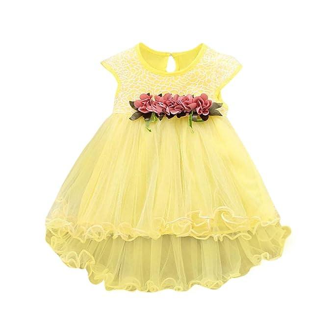 Oliviavan,Vestidos Ni/ña sin Mangas de Vestidos de Princesa de Encaje Estampado Floral Trajes
