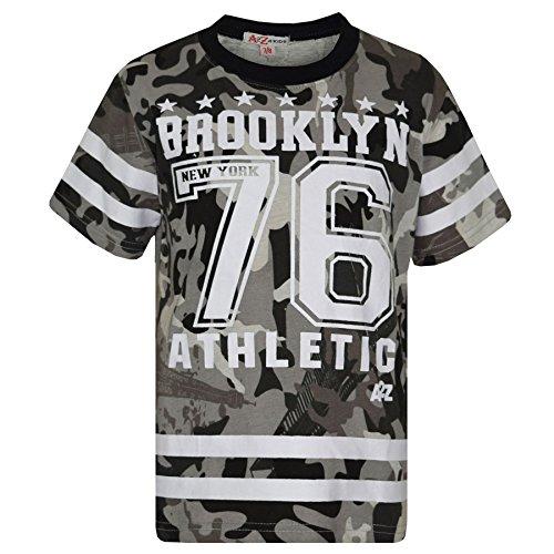 1baaab7c503 Boys Top Kids Designer Brooklyn 76 Camouflage T Shirt Tops & Trouser Set  7-13