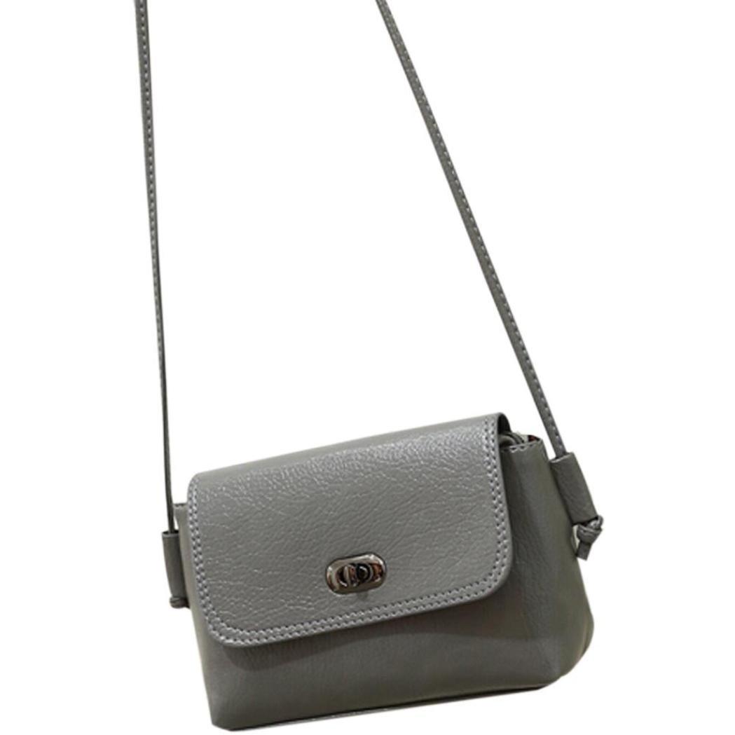 Bolayu Fashion Girl Women Leather Handbag Cross Body Shoulder Messenger Bag (Gray)