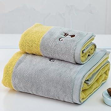 Una toalla de baño para hombres adultos, niños, parejas de algodón bordado suave y absorbente juego de toallas, toallas de baño amarillo + juego de toallas: ...