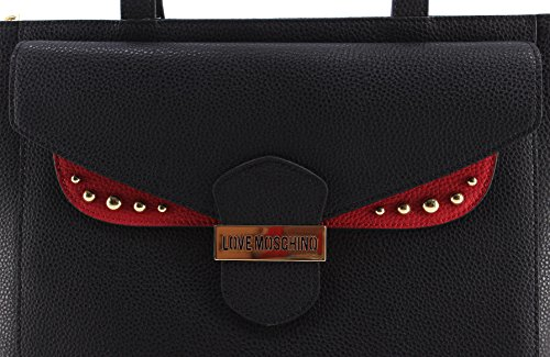 Borsa Mano Spalla Donna LOVE MOSCHINO Pebble Calf Mix Nero Rosso Gold Nuova New