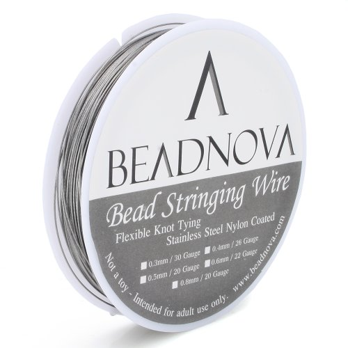 22' Steel Bead Chain (Beadnova 7-Strand Flexible Knot Tying Nylon Coated Stainless Steel Bead Stringing Wire(0.6mm 6.5 meter))