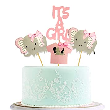 BLINGBLING Happy Birthday Cake Topper Packaged Handmade Pink Elephant Girl Bow