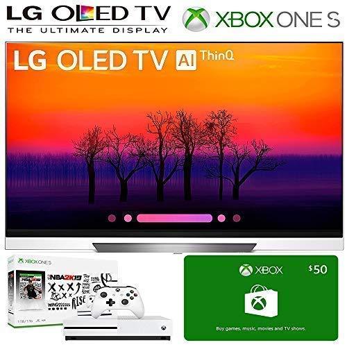 LG OLED65E8 Class E8 OLED 4K HDR AI Smart TV 2018 Model, Xbox One S NBA 2K19 Bundle, 50 Xbox Gift Card. LG Authorized Dealer! (65-inch)