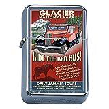 Silver Flip Top Oil Lighter Vintage Poster D-028 Glacier National Park - Red Jammer Vintage Sign