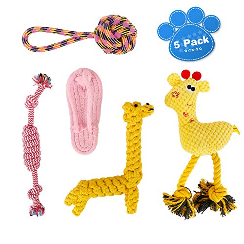 oneisall Dog Toys for Small Dogs 5 Pack – Puppy Chew Toys for Boredom Pet Rope Squeaky Teething Toy for Puppies – for…